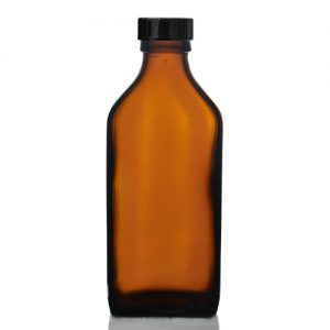 200ml Amber Rectangular Bottle with Polycone Cap