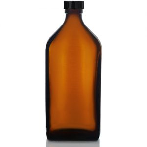 500ml Amber Rectangular Bottle with Polycone Cap