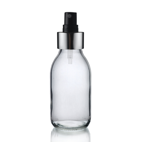 100ml Clear Glass Sirop Bottle with Black and Silver Atomiser
