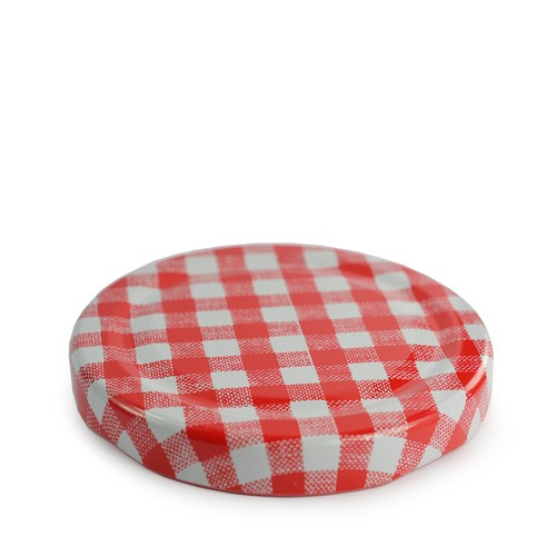 63mm red gingham lid