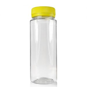 150ml Slim Plastic Juice Bottle with Yellow Lid