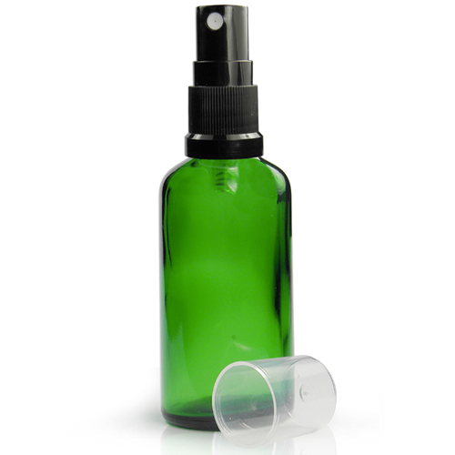 50ml Green Glass Dropper Bottle With Spray