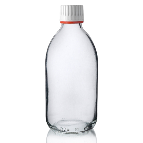 300ml Clear Glass Sirop Bottle w Red Band Cap