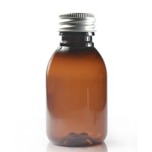 Amber Plastic Bottle With Metal Lid