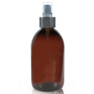 500ml Amber Plastic Bottle With Silver Spray