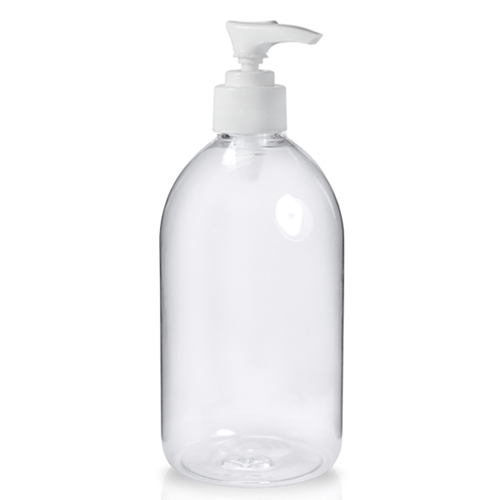 500ml Clear Sirop Bottle with white lotion