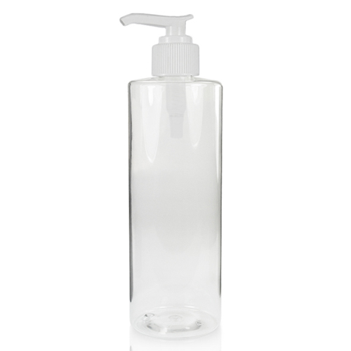 500ml Clear Tubular Plastic Bottle & 24mm White Lotion Pump