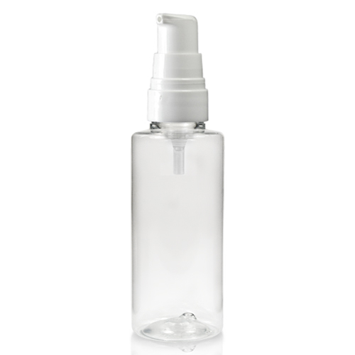 50ml Clear Tubular Plastic Bottle And White Lotion Pump